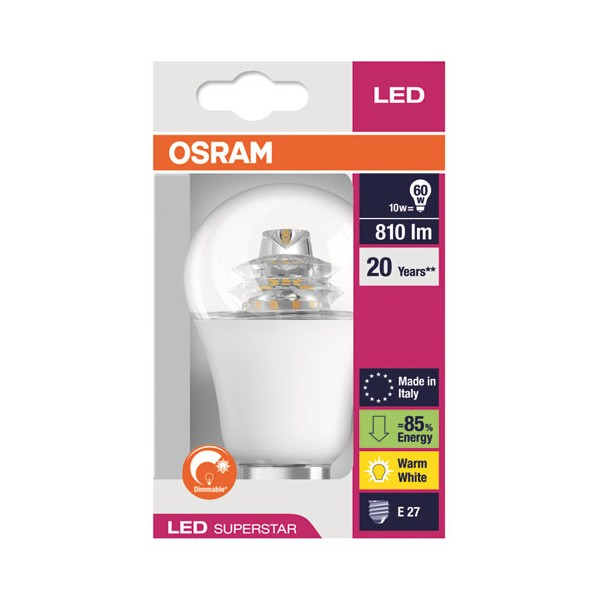 Led standard superstar diamant 10W E27 810 Lm - blanc chaud - 4,0529E+12 - OSRAM