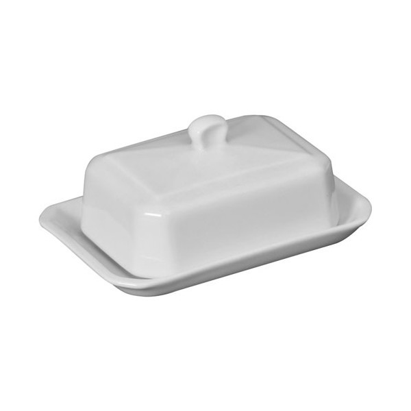 Beurrier rectangulaire 250g - porcelaine - blanc - 5209 - GIRARD