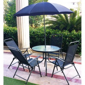 Ensemble Texas 1 table + 4 fauteuils pliants + 1 parasol - chocolat