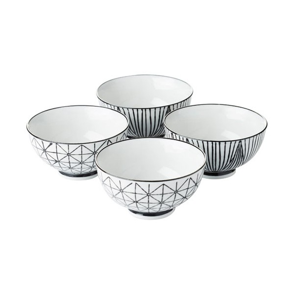 Bol Stripes&geo D:11.5 cm - lot de 4 - PV-GIF-6368 - POINT VIRGULE