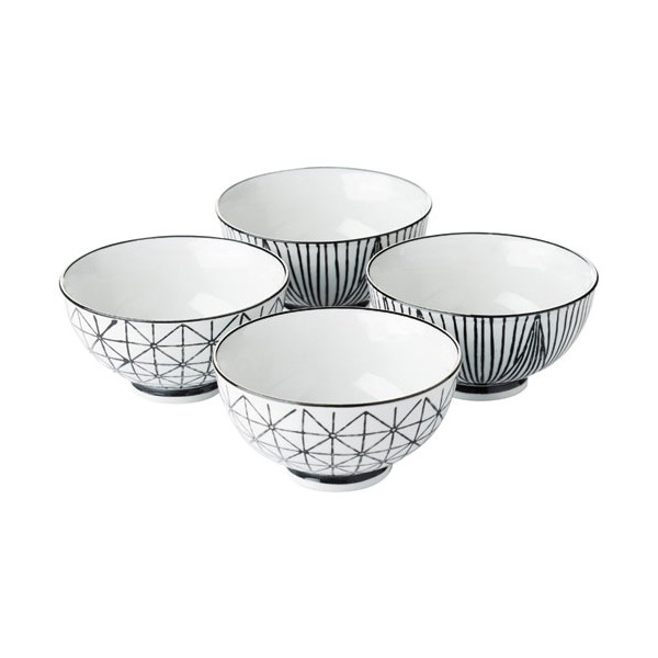 Bol Stripes&geo D:13.5 cm - lot de 4 - PV-GIF-6372 - POINT VIRGULE