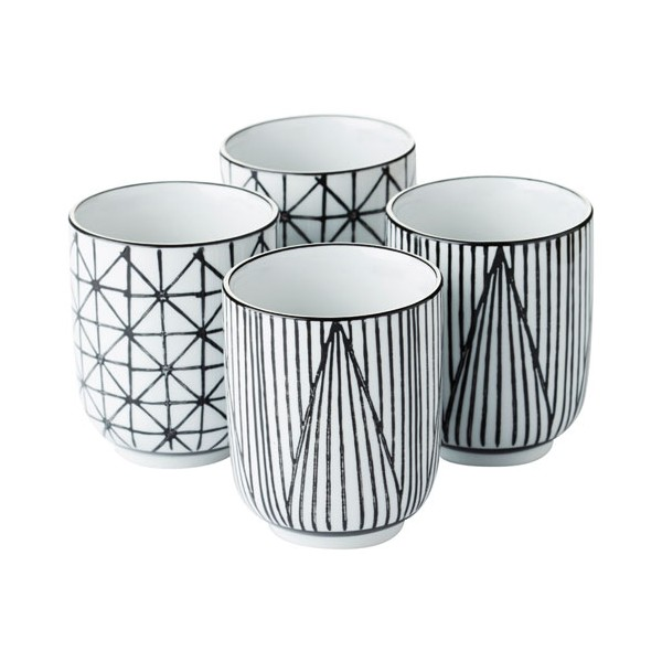 Tasse Stripes&geo 20cL - lot de 4 - PV-GIF-6364 - POINT VIRGULE