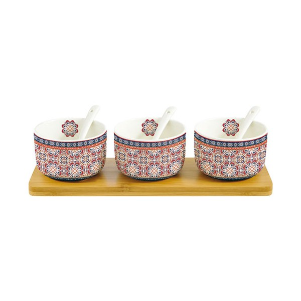 Coupelle Alhambra avec cuillère + support - lot de 3 - 851ALHA - JD DIFFUSION