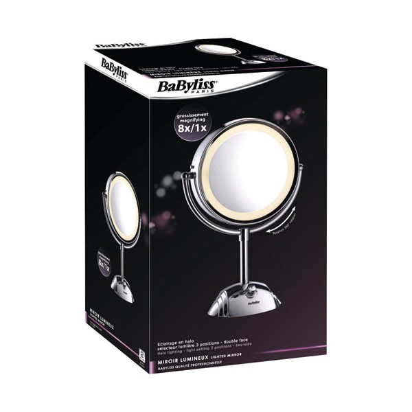 Miroir lumineux grossissant d 8438e babyliss for Miroir grossissant lumineux