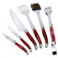 Set ustensiles barbecue - lot de 6 - rouge