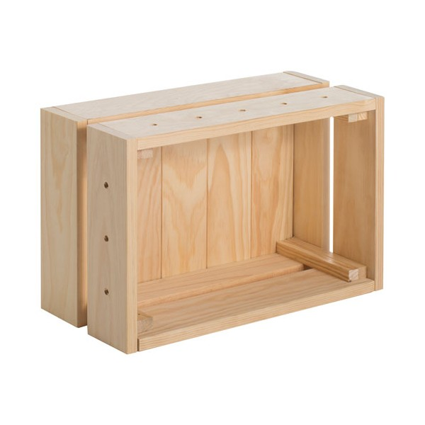 caisse de rangement home box pin massif 38 4 x 28 x 16 5 cm bois massif. Black Bedroom Furniture Sets. Home Design Ideas