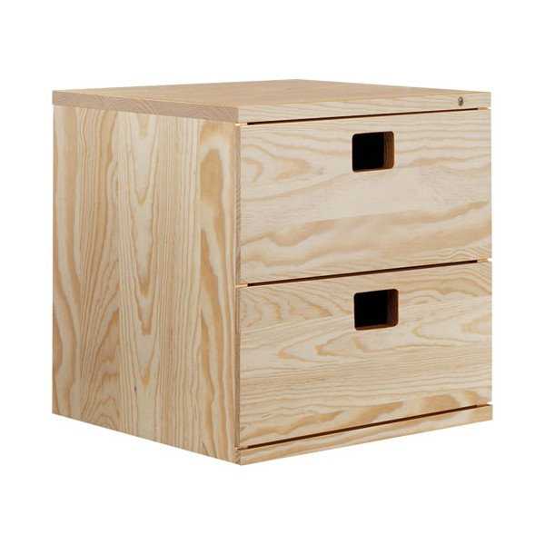 cube de rangement 2 tiroirs pin masif 36 2 x 36 2 x 33 cm bois brut. Black Bedroom Furniture Sets. Home Design Ideas