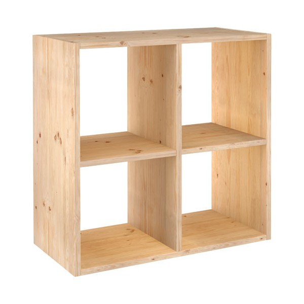 Cube de rangement 4 cases pin masif 70 8 x 70 8 x 33 cm for Meuble cube 8 cases