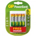 Chargeur accus PowerBank USB - 4 piles - AA et AAA + 4 piles