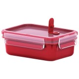 Boite Clip close micro rectangulaire 1l compartiments rouge