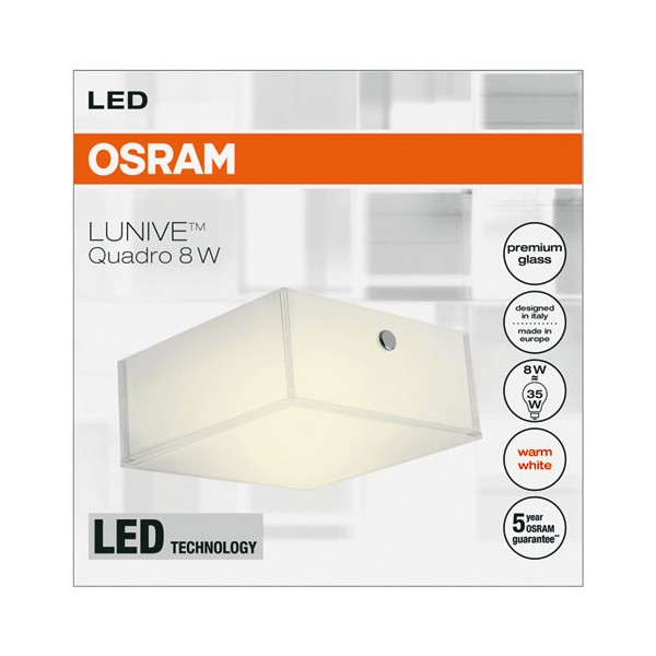 Applique / plafonnier lunive quadro 110x110mm 8W chaud - 4052899373464 - OSRAM