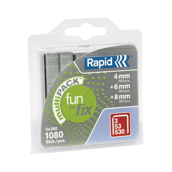 Agrafe - Fun to fix - N°53 - lot de 1080 - 4-6-8 mm - 40108715 - RAPID