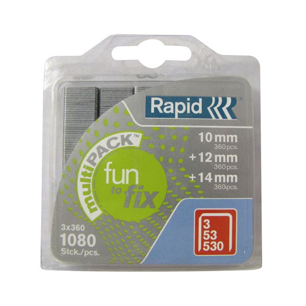 Agrafe - Fun to fix - N°53 - lot de 1080 - 10-12-14 mm  - 40108719 - RAPID