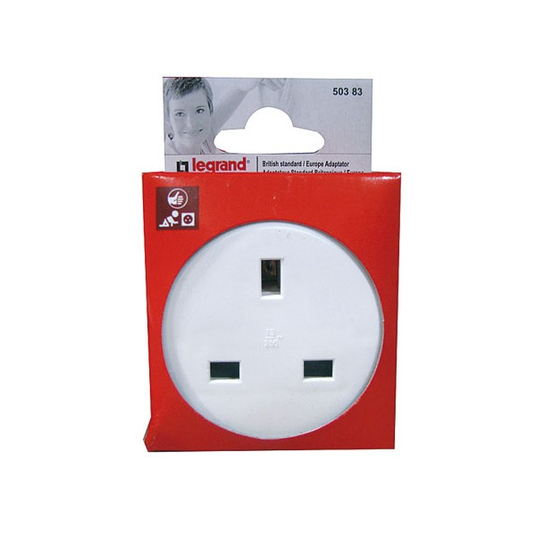 Adaptateur angleterre france 2 phases terre 50383 legrand - Prise electrique angleterre ...