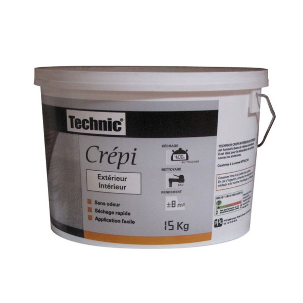 Cr pi ext rieur pierre 15 kg 223637 technic home for Peinture crepi exterieur