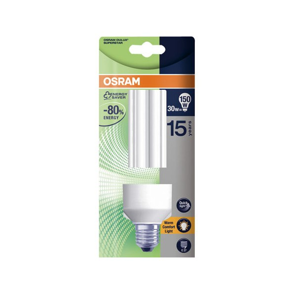 Ampoule fluocompacte Dulux Superstar Stick E27 - 30 W - Warm confort light - 2 500 K - OSRAM