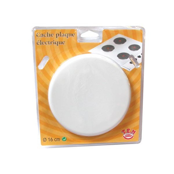 Cache plaque lectrique d 16 cm blanc 81165 ten for Cache electrique