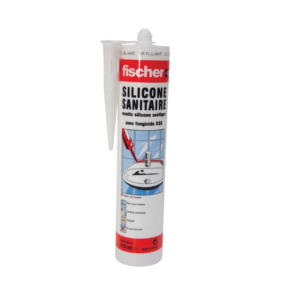 mastic sanitaire silicone dss blanc 310 ml 53398 fischer. Black Bedroom Furniture Sets. Home Design Ideas